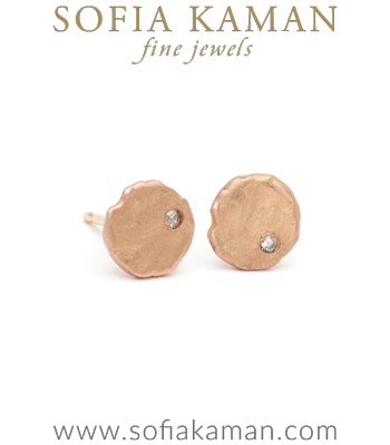 14K Gold Diamond Stud Disk Gift for Mom Earring designed by Sofia Kaman handmade in Los Angeles