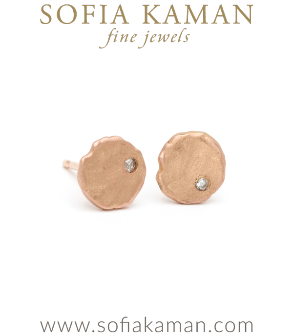 14K Gold Diamond Stud Disk Gift for Mom Earring designed by Sofia Kaman handmade in Los Angeles using our SKFJ ethical jewelry process.