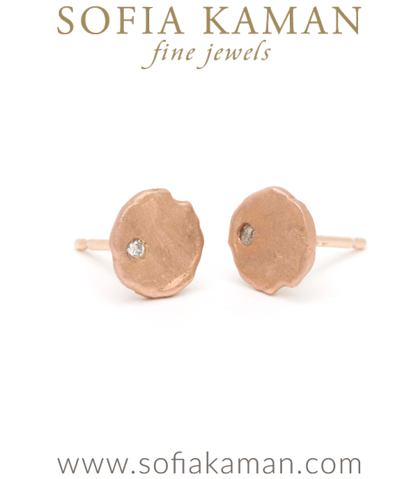 Gold Tiny Disk With Diamond Stud Earrings