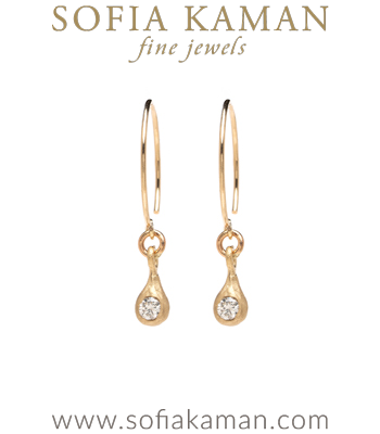 14K Shiny Yellow Gold Diamond Dewdrop Boho Earrings for Everyday or for all Engagement Ring Styles designed by Sofia Kaman handmade in Los Angeles
