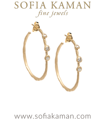 Ethically Sourced Scattered Diamond Pod 14K Gold Boho Bridal Hoop Earrings designed by Sofia Kaman handmade in Los Angeles
