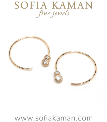 Ethically Sourced Double Diamond 14K Gold Bohemian Wedding Hoop Earrings designed by Sofia Kaman handmade in Los Angeles