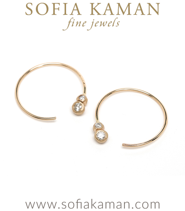 Ethically Sourced Double Diamond 14K Gold Bohemian Wedding Hoop Earrings designed by Sofia Kaman handmade in Los Angeles using our SKFJ ethical jewelry process.
