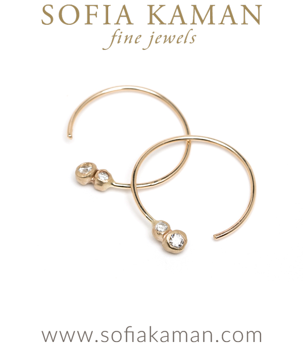 Sofia Kaman Bohemian Double Diamond Hoop Earrings