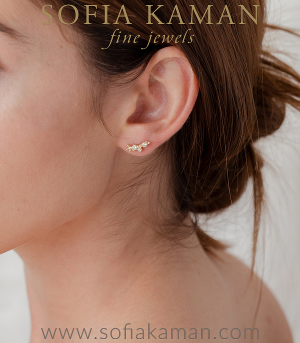 Single Gold Diamond Ear Climber For One Of A Kind Engagement Rings