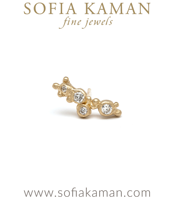 14K Gold Single Diamond Pod Mini Dewdrop Ear Climber Earring Perfect for Unique Engagement Rings designed by Sofia Kaman handmade in Los Angeles using our SKFJ ethical jewelry process.