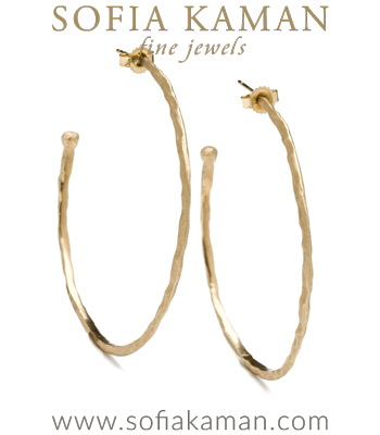 Large Texture Gold Hoop Earrings for Unique Engagement Rings designed by Sofia Kaman handmade in Los Angeles