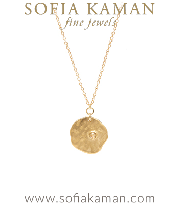 14K Gold Rose Cut Diamond Textured Boho Wedding Necklace designed by Sofia Kaman handmade in Los Angeles