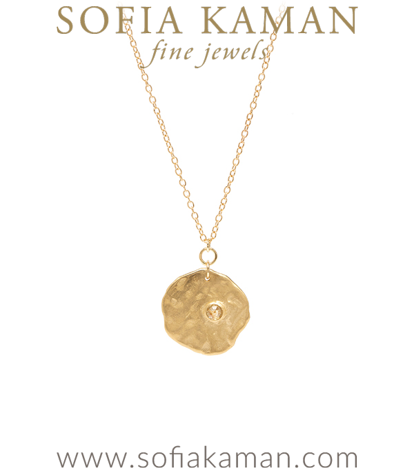 14K Gold Rose Cut Diamond Textured Boho Wedding Necklace designed by Sofia Kaman handmade in Los Angeles using our SKFJ ethical jewelry process.