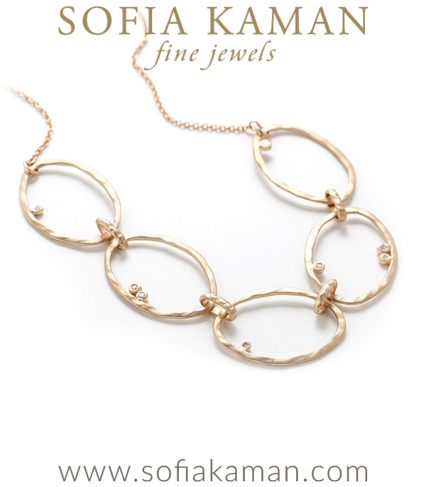 Gold Adjustable 20 Inch Large Link Diamond Pod Accented Boho Bridal Necklace designed by Sofia Kaman handmade in Los Angeles using our SKFJ ethical jewelry process. This piece has been sold and is in the SK Archive.