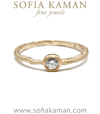 Natural Organic Diamond Bohemian Engagement Ring made in Los Angeles