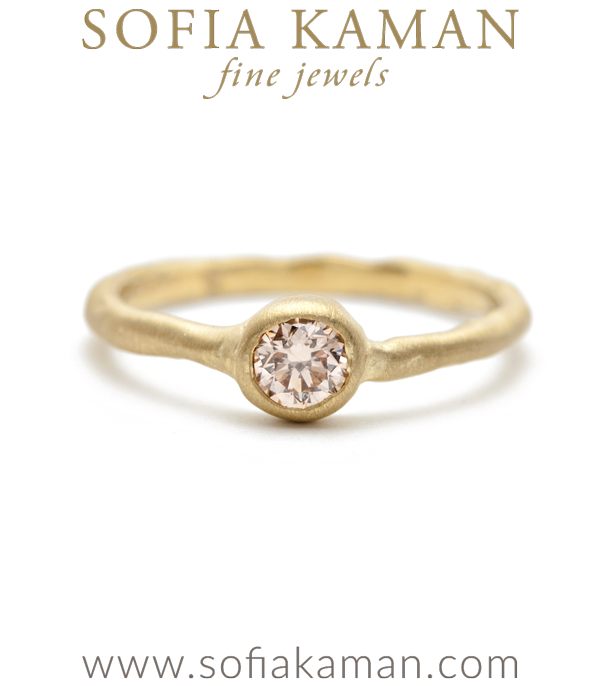 Organic Boho Stacking Ring Natural Champagne Diamond Solitare Bohemian Engagement Ring designed by Sofia Kaman handmade in Los Angeles using our SKFJ ethical jewelry process. This piece has been sold and is in the SK Archive.