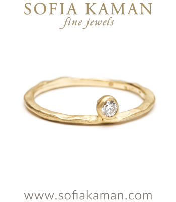Organic Diamond Boho Stacking Ring Natural Bohemian Wedding Band made in Los Angeles