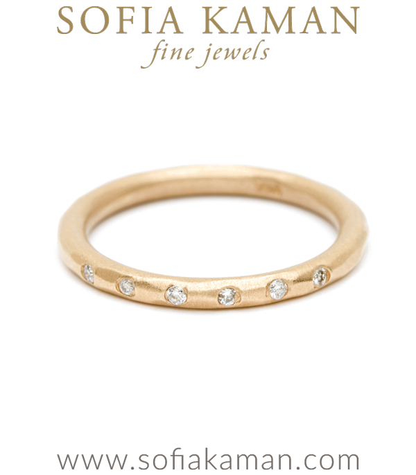 Round Diamond Boho Stacking Ring Bohemian Wedding Band designed by Sofia Kaman handmade in Los Angeles