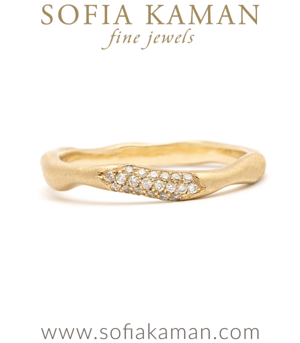 Organic Diamond Wavy Stacking Ring Natural Bohemian Wedding Band designed by Sofia Kaman handmade in Los Angeles using our SKFJ ethical jewelry process.
