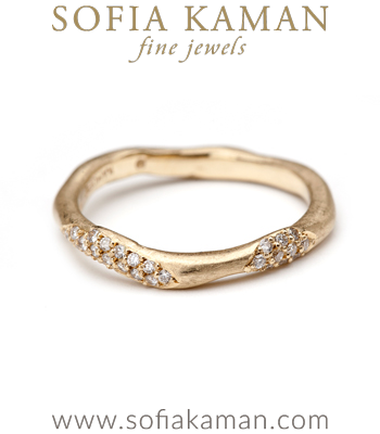 Organic Diamond Wavy Handmade Wedding Band made in Los Angeles