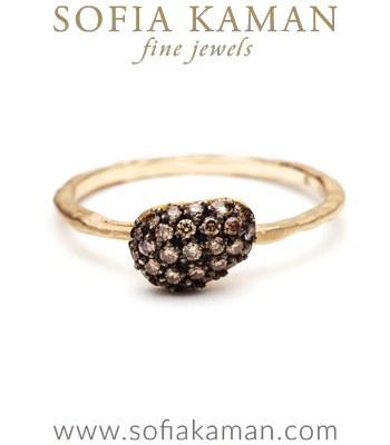 Natural Organic Champagne Diamond Pebble Stacking Ring designed by Sofia Kaman handmade in Los Angeles