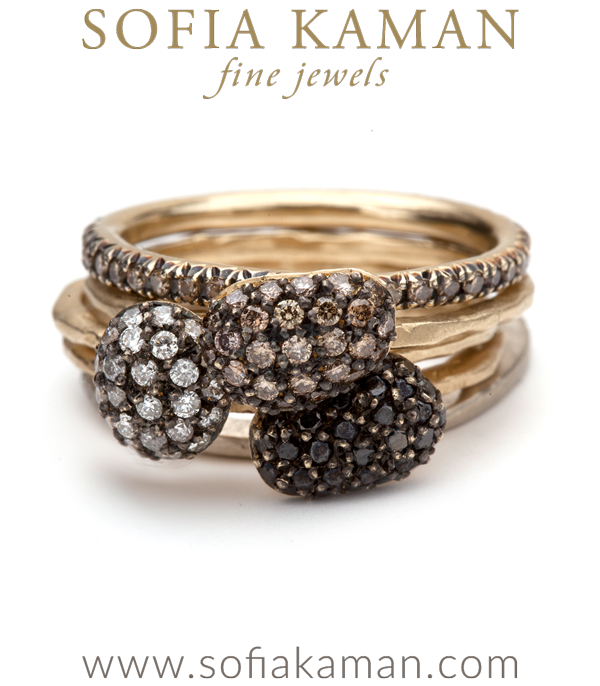 Black Diamond Pebble Stacking Ring