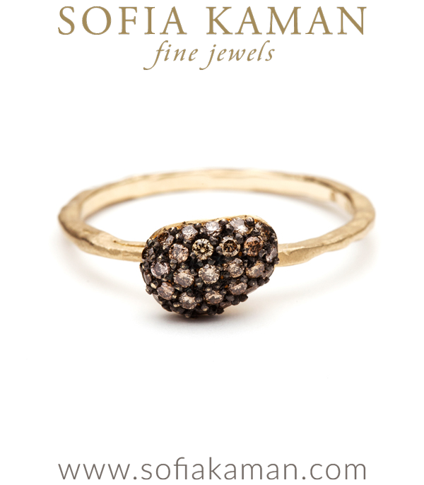 Natural Organic Champagne Diamond Pebble Stacking Ring designed by Sofia Kaman handmade in Los Angeles using our SKFJ ethical jewelry process.