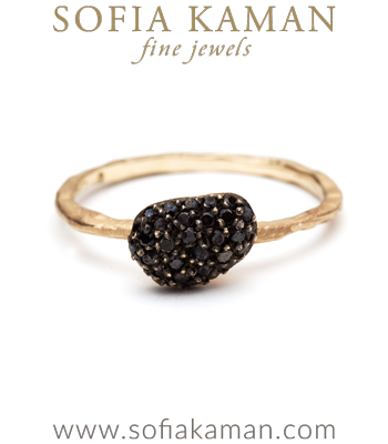 Natural Organic Black Diamond Pebble Stacking Ring designed by Sofia Kaman handmade in Los Angeles