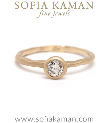 Nature Inspired Simplicity Unique Engagement Ring with Champagne Diamond designed by Sofia Kaman handmade in Los Angeles