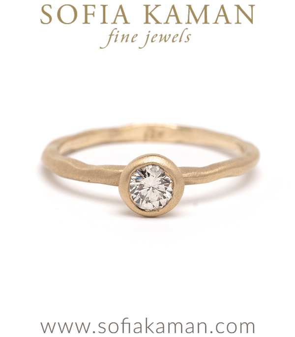 Nature Inspired Simplicity Unique Engagement Ring with Champagne Diamond designed by Sofia Kaman handmade in Los Angeles using our SKFJ ethical jewelry process.