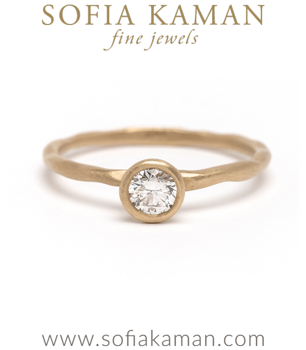 Nature Inspired Boho White Diamond Simplicity Unique Engagement Ring designed by Sofia Kaman handmade in Los Angeles using our SKFJ ethical jewelry process.