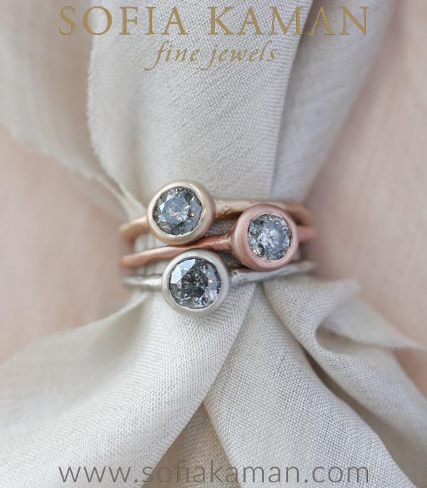 Organic Salt Pepper Diamond Engagement Ring Shown