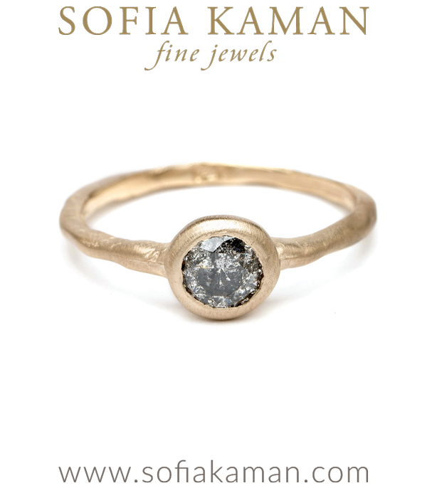 Organic Salt Pepper Diamond Boho Stacking Ring Natural Bohemian Engagement Ring designed by Sofia Kaman handmade in Los Angeles using our SKFJ ethical jewelry process.