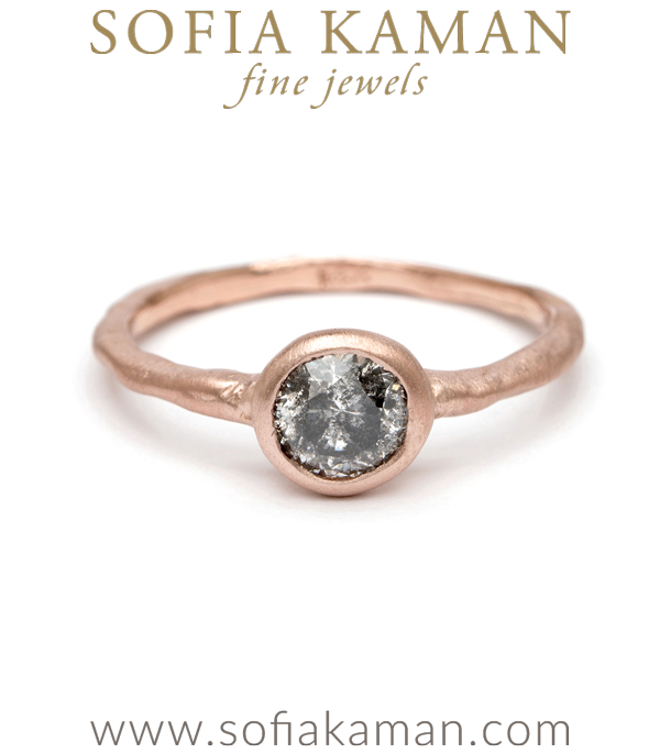 Organic Salt Pepper Diamond Engagement Ring