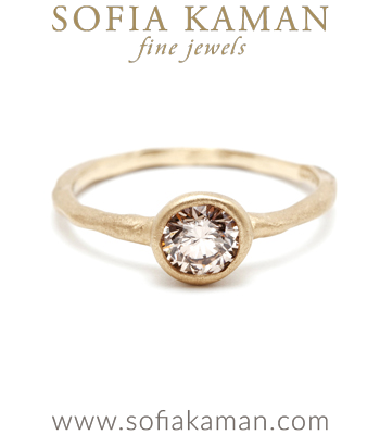 Brilliant Cut Champagne Diamond Organic Texture Handmade Engagement Ring designed by Sofia Kaman handmade in Los Angeles