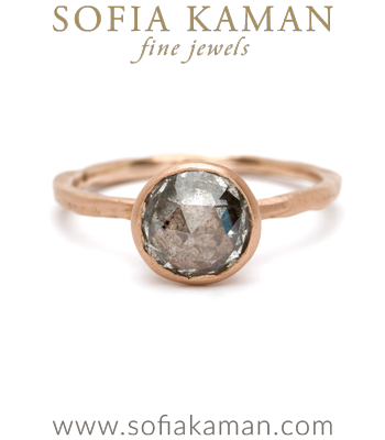 14k Rose Gold Organic Natural Texture Unique Rose Cut Salt and Pepper Diamond Engagement Ring made in Los Angeles