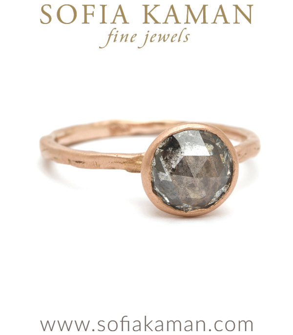 Rose Gold Natural Organic Texture Salt Pepper Engagement Ring