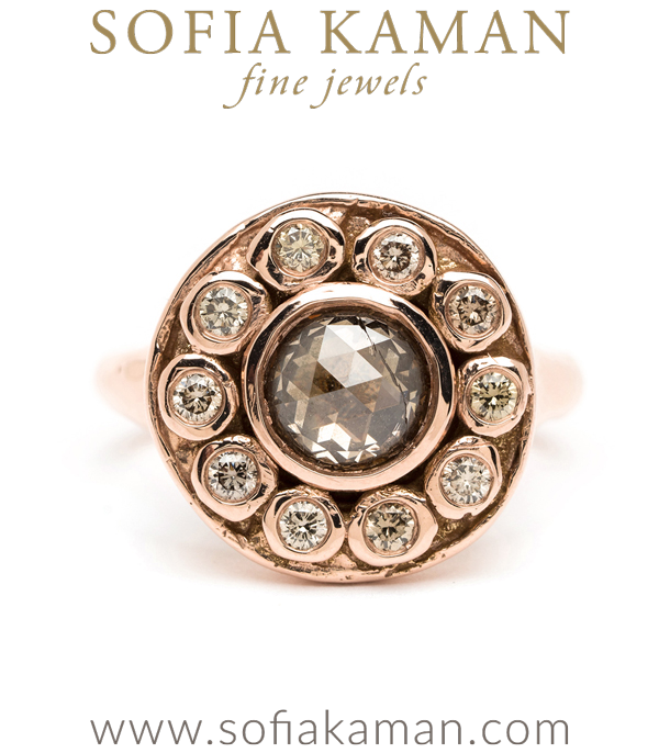 One of a Kind Rose Gold Cosmic Rose Cut Champagne Diamond Cluster Boho Engagement Ring designed by Sofia Kaman handmade in Los Angeles using our SKFJ ethical jewelry process.