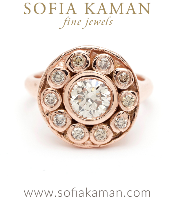 Unique Bohemian Champagne Diamond Cluster Engagement Ring designed by Sofia Kaman handmade in Los Angeles