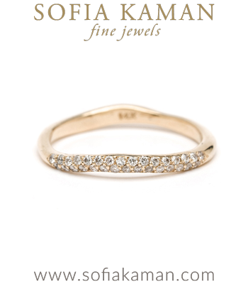 14K Gold Petite Pave Diamond Wavy Bohemian Wedding Band Stacking Ring designed by Sofia Kaman handmade in Los Angeles