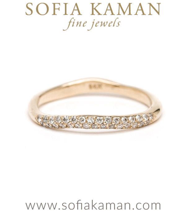 14K Gold Petite Pave Diamond Wavy Bohemian Wedding Band Stacking Ring designed by Sofia Kaman handmade in Los Angeles using our SKFJ ethical jewelry process.