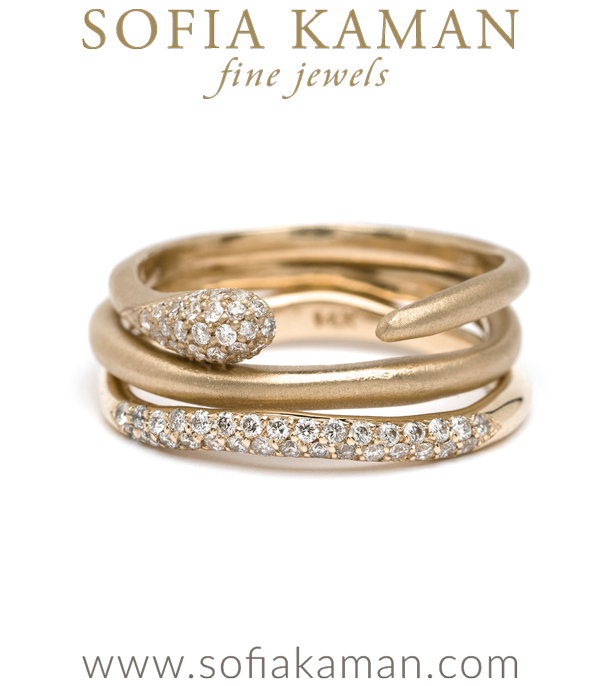 Gold Diamond Boho Stacking Rings
