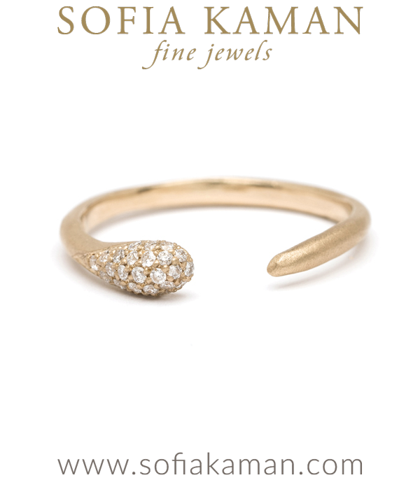 Gold Pave Diamond Adjustable Comet Boho Stacking Ring designed by Sofia Kaman handmade in Los Angeles