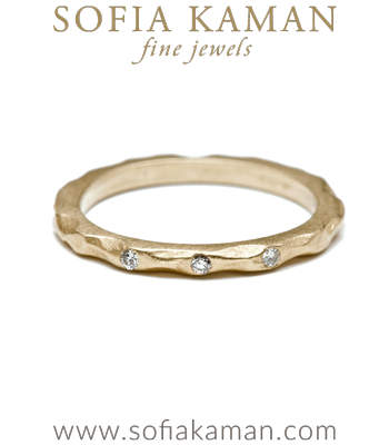 Organic Boho Diamond Stacking Ring Natural Bohemian Wedding Band designed by Sofia Kaman handmade in Los Angeles