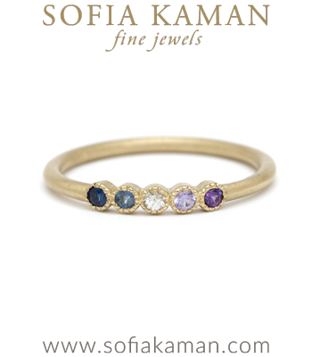 14K gold Cool Tone Blue Rainbow Sapphire Bohemian Stacking Ring Unique Wedding Band designed by Sofia Kaman handmade in Los Angeles