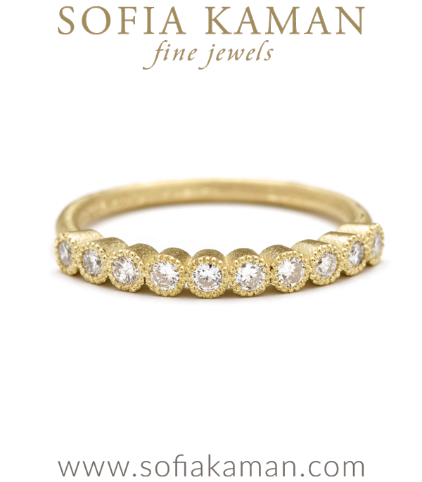 10 Rose Cut Diamonds Milgrain Bezels Gold Stacking Band