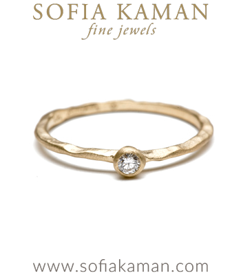 Diamond Solitaire Bohemian Engagement Ring designed by Sofia Kaman handmade in Los Angeles