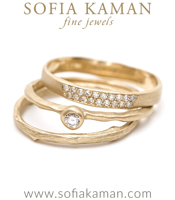 Texture Trio Gold Diamond Stacking Rings