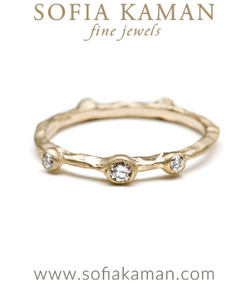 Natural Organic Bohemian Wedding Band designed by Sofia Kaman handmade in Los Angeles