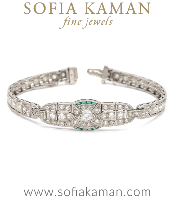 Vintage Art Deco Platinum Diamond Emerald Bracelet