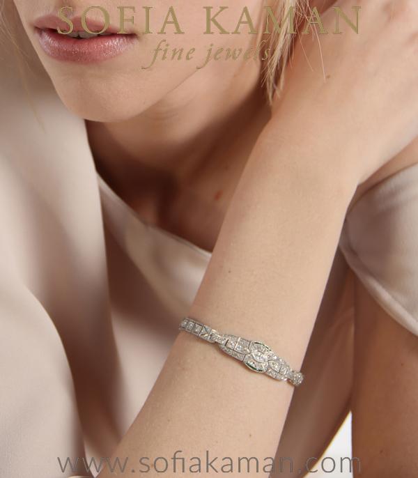 Vintage Art Deco Platinum Diamond Bracelet Shown