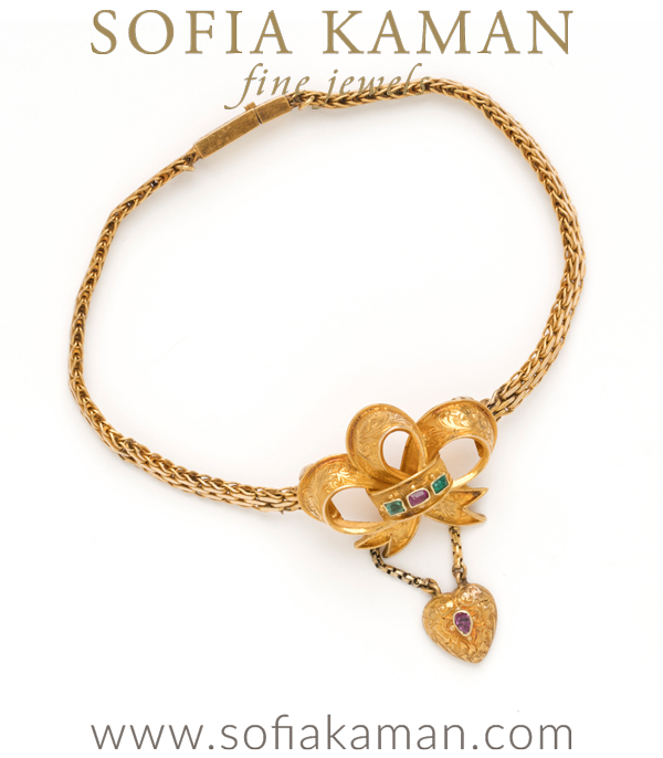 Victorian Bow And Heart Bracelet