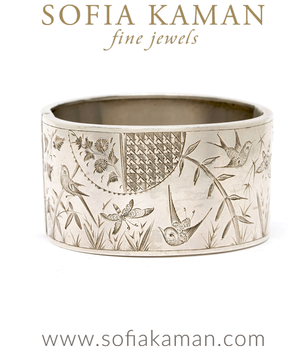 Vintage Victorian Bird Sterling Silver Bracelet Cuff curated by Sofia Kaman.