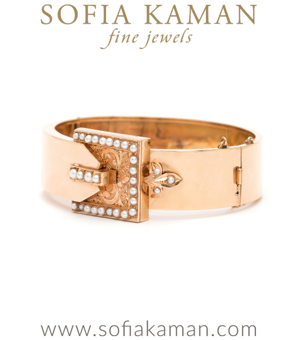 Rose Gold And Pearls Victorian Buckle Cuff